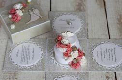 Romantyczny exploding box na ślub z tortem 1