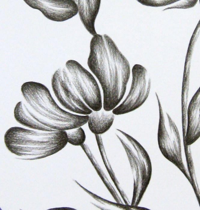 WIOSENNE KWIATY - grafika czarno-biała