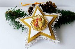 Gwiazdy beżowo - złoto - białe