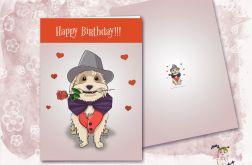Autorska kartka urodzinowa z psem