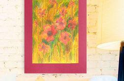 Rysunek kwiaty na bordowym tle nr 9 - obrazek