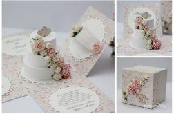 Pudełko ślubne rozkładane z tortem 1