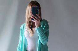 Sweter oversize z kieszeniami miętowy