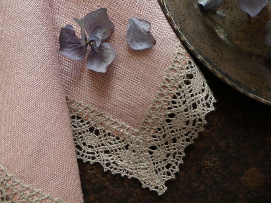 Serweta lniana pudrowy róż