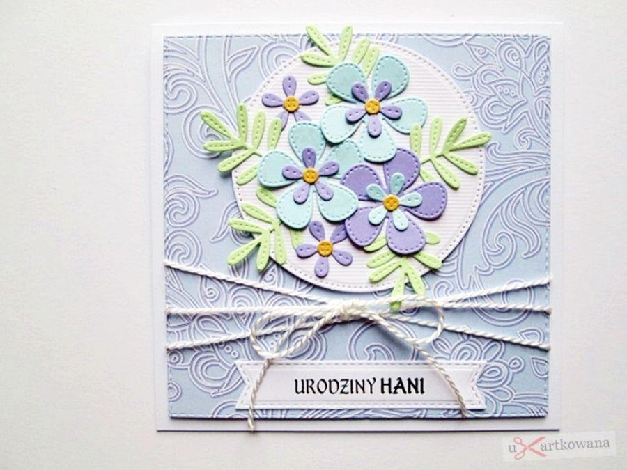 Kartka URODZINOWA błękitno-fioletowa - Kartka Urodzinowa błękitno-fioletowa