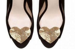 gold heart - broszki do butów