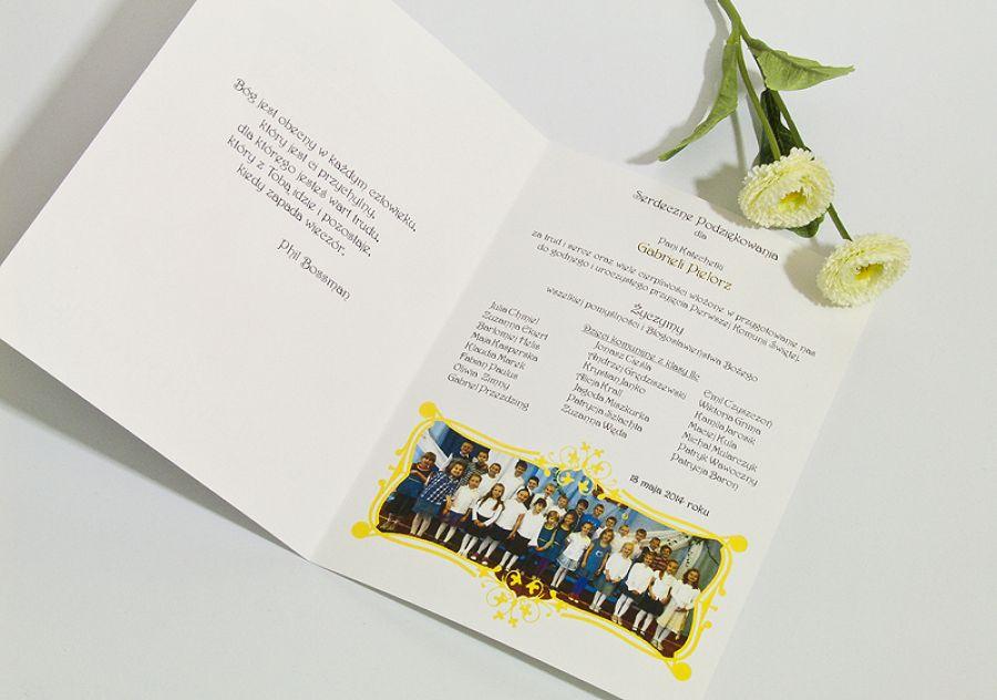Kartka podziękowania dla katechetki za przygotowanie do Pierwszej Komunii Świętej - null