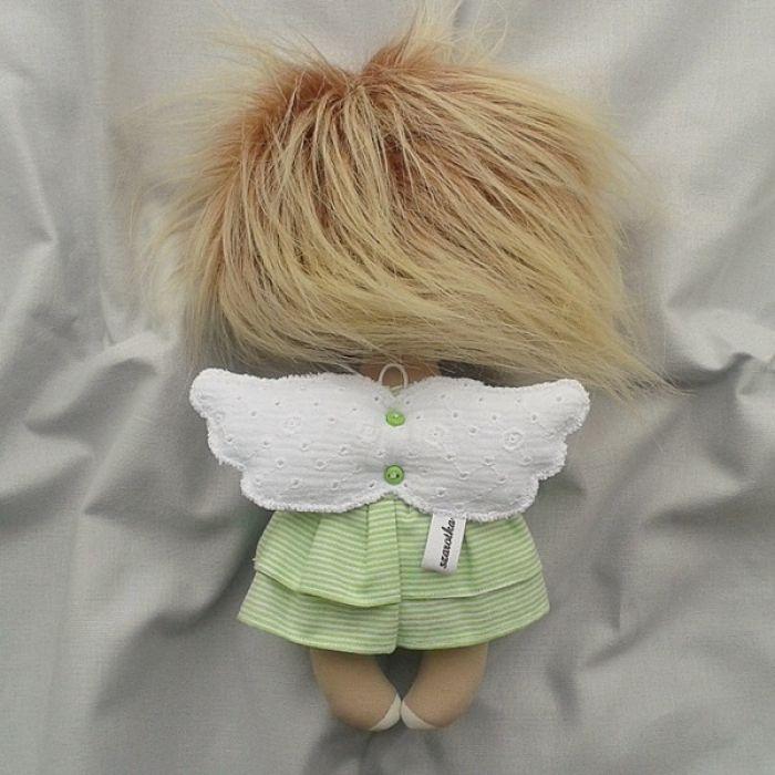 ANIOŁEK lalka - dekoracja tekstylna, OOAK/28 - tak wyglądam z tyłu