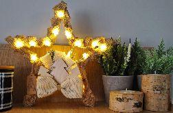 Gwiazda świąteczny stroik rustykalny led