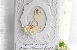 Ażurowe zaproszenia biało srebrne