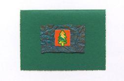 Zielona kartka świąteczna z choinką