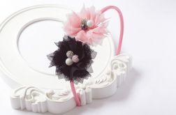 Opaska do włosów FILIPOLA tiul kwiaty BLACK