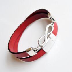 Bransoletka 10mm czerwona skóra - infinity
