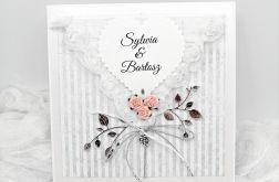 Kartka na Ślub szaro srebrna w kopercie