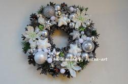 wianek Boże Narodzenie, stroik - Biel,srebro 26cm