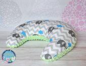 ROGAL do karmienia poduszka fasolka zagłówek - bawełna i Minky - zielony słonie