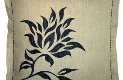 Dekoracyjna poszewka z lnu ręcznie malowana