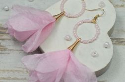 Długie kolczyki kwiaty, jasno różowe