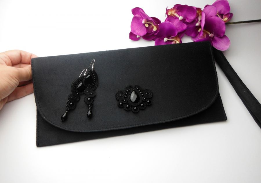 Kopertówka soutache sutasz kolczyki czarne