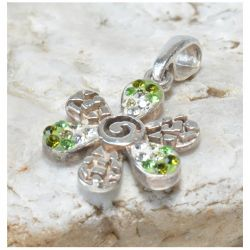 102 srebrny wisiorek, zawieszka; kwiatek