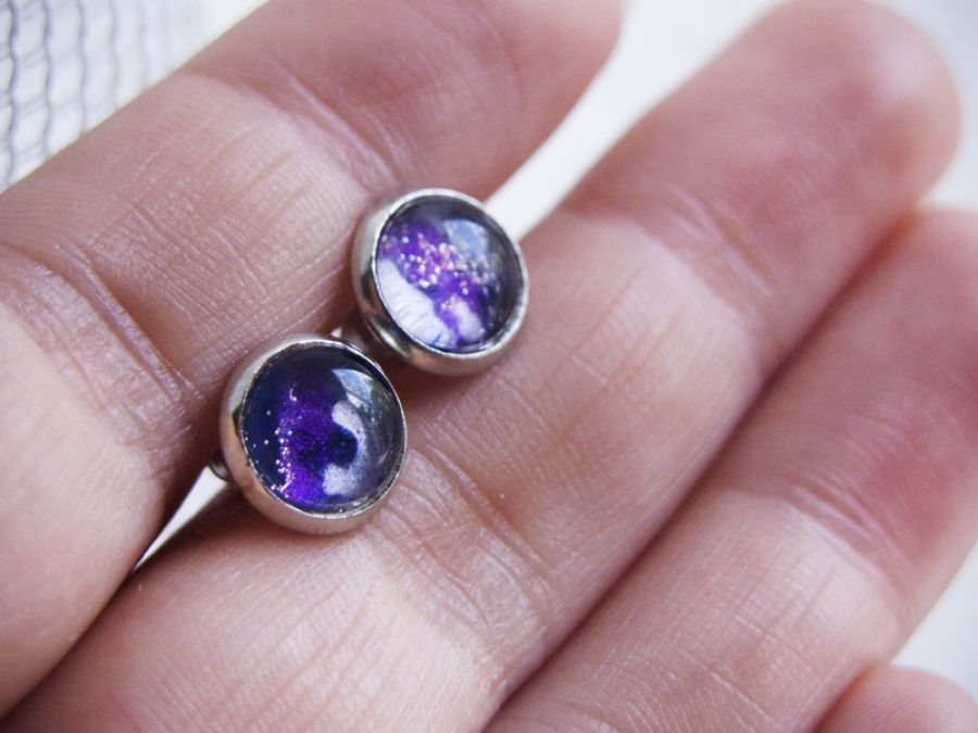 Kolczyki sztyfty kosmos, galaktyka, srebrne