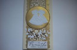 Pamiątka chrztu- kartka w kolorach złota