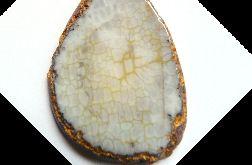 Szaro-żółty surowy agat pajęczy, wisior