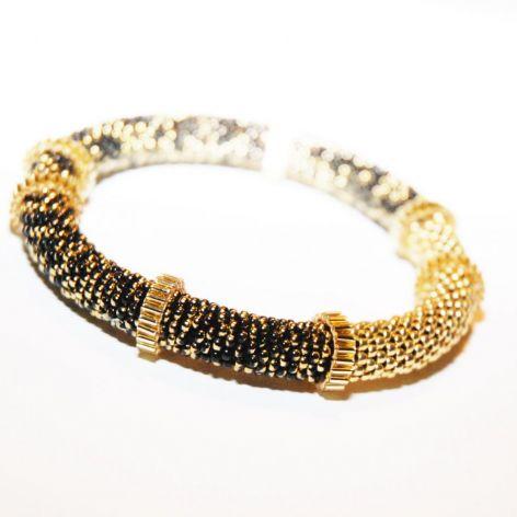 Elegancka złoto czarna bransoletka