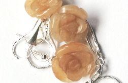 Naturalny awenturyn, biżuteria z różami kpl