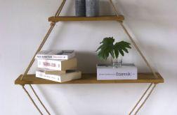 Asymetryczna półka na linach z drewna