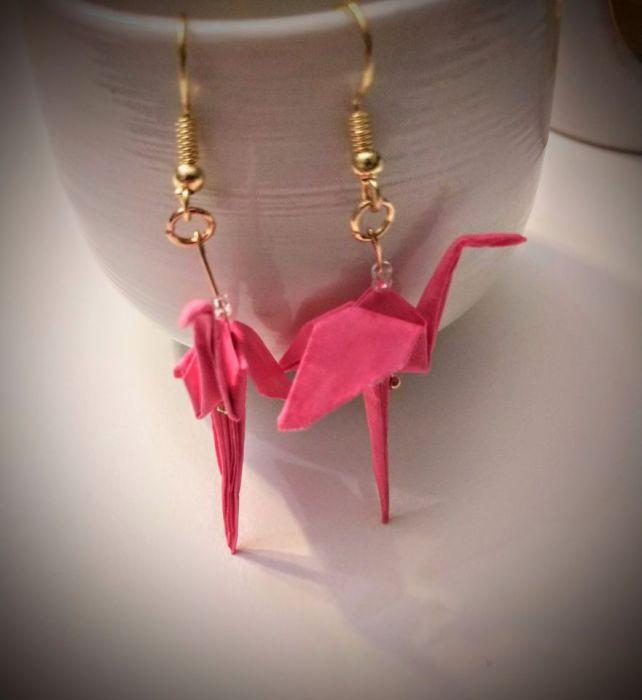 Kolczyki origami flamingi - Przodem i z boku
