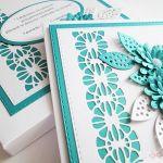 Kartka ŚLUBNA - turkusowe stokrotki - Biało-turkusowa kartka ślubna ze stokrotkami