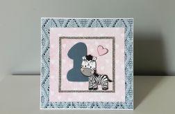 Kartka na Roczek zebra różowo niebieska