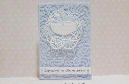 Ażurowe zaproszenie na chrzest - niebieskie