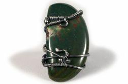 Heliotrop, srebrny pierścionek z heliotropem