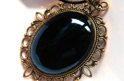 Czarny agat w starym złocie, wisior vintage
