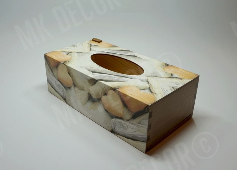 Pudełko prostokątne na chusteczki - serca - przechowywanie chusteczek
