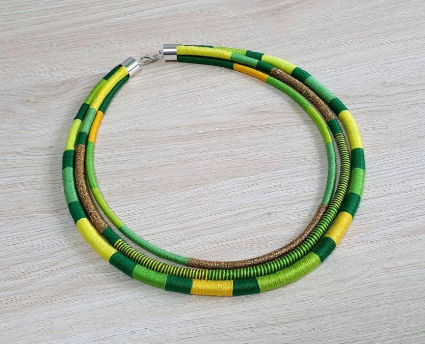 Neo-etno naszyjnik masajka zielono-żółta