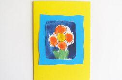 Kartka żółta z kwiatkiem nr 22