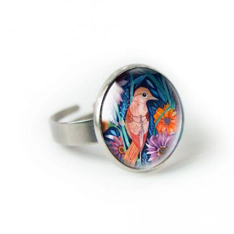 Autumn bird pierścionek z ilustracją