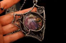 Naszyjnik srebrny fioletowy labradoryt