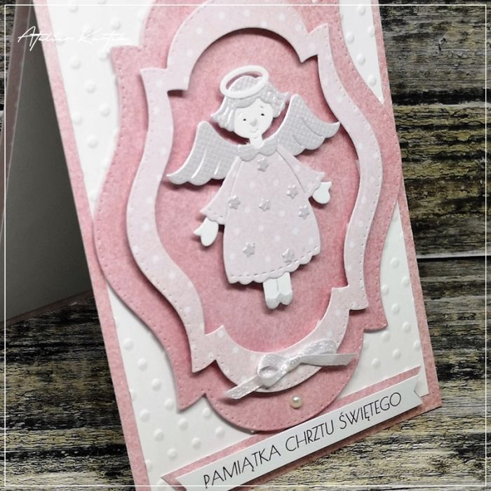 Kartka na Chrzest-z Aniołkiem