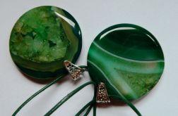 Agat z kryształem, zielony,  piękny wisior
