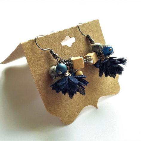 Kolczyki granatowe - z tiulowym kwiatkiem 2