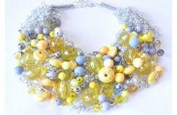 4086 naszyjnik kolia korale żółty