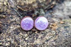 Lawendowa perła kolczyki sztyfty żywica drewno