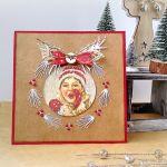 Kartka świąteczna z haftem - święta na wesoło
