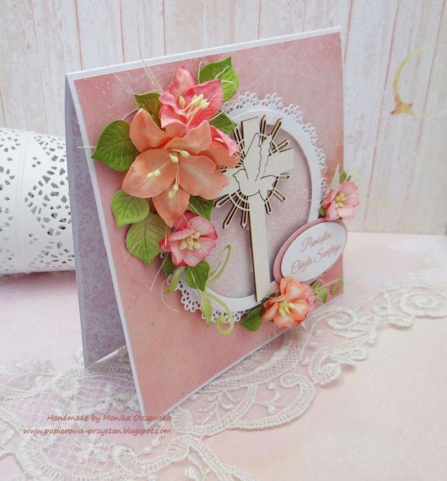 Pamiątka Chrztu dla dziewczynki z liliami