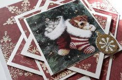 Kartka świąteczna z kotkiem, pieskiem
