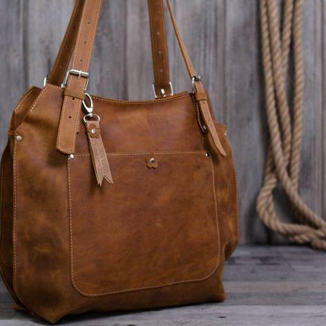 Ręcznie robiona skórzana torebka-rudy brąz
